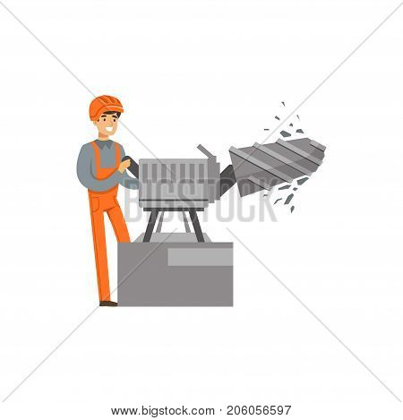 Male miner in uniform working with ore drilling machine, professional miner at work, coal mining industry vector Illustration isolated on a white background