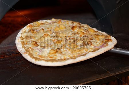 Half-ready pizza with porcini mushrooms taken out of oven, commercial kitchen