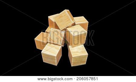 isolated wood cubic on the black background