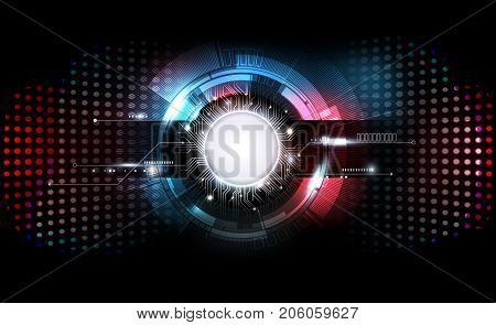 Abstract futuristic electronic circuit technology on dark background, transparent vector illustration