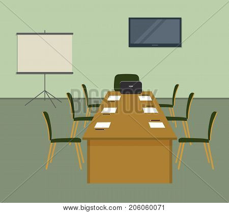 Conference hall in green color. The office room is prepared for the meeting. There is a screen, a desk and chairs in the image. On the table is laptop, paper for notes and pencils. Vector illustration