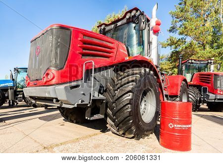 Russia Samara - September 23 2017: Modern agricultural tractors Kirovets K9450 exhibited at the annual Volga agro-industrial exhibition