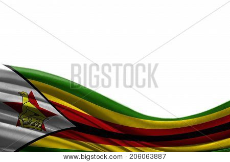 Grunge colorful flag Zimbabwe with copyspace for your text or images,isolated on white background. Close up, fluttering downwind.