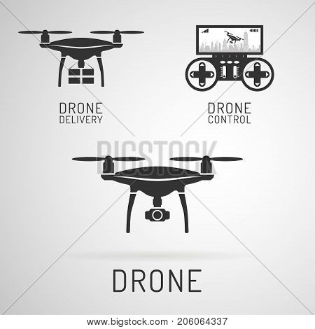 Drone icon.. Aerial drone with a camera photographing or video recording. Drone delivering cargo. Control panel for drones. Vector art on isolated background. Flat design.