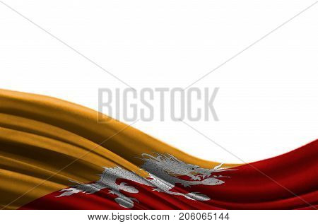 Grunge colorful flag Butane with copyspace for your text or images,isolated on white background. Close up, fluttering downwind.