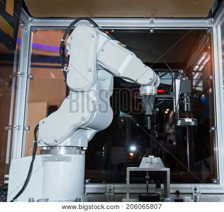 Robotic machine camera lens system in factory