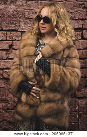 The woman in a fur coat. A coat from arctic fox over Brick wall