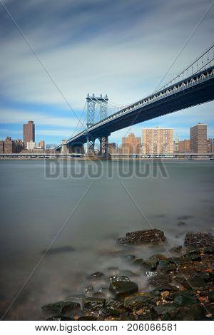Manhattan Bridge and downtown New York City waterfront