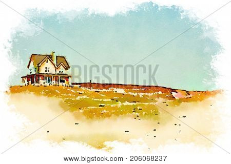 Digital watercolour of a house on a butte in a blue sky