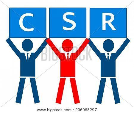 Businessman with CSR placard