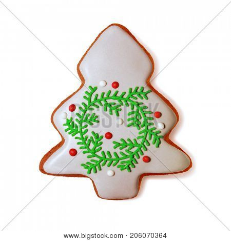 Christmas gingerbread cookie isolated on white with path