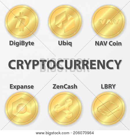 Set of 6 cryptocurrency icon. Golden zencash digibyte and etc