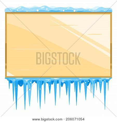 Empty brown wooden bulletin board with icicles, isolated