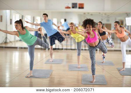 Happy group on body balance training