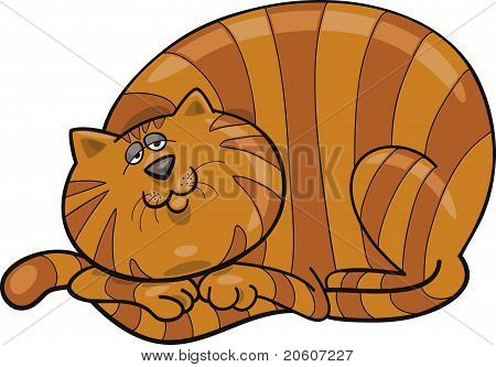 poster of Cartoon illustration of happy fat red cat