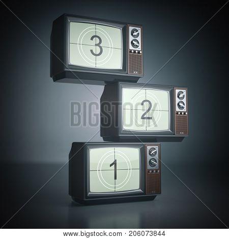 Stack of vintage tv set. Television background. 3d  illustration.