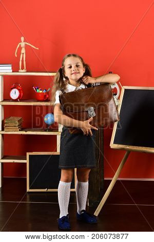 Back To School And Education Concept. Schoolgirl With Smiling Face