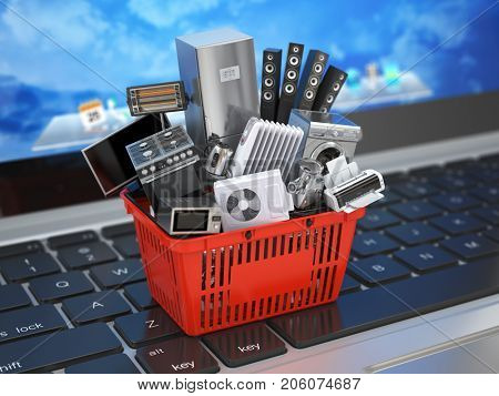 E-commerce online shopping or delivery concept. Home appliance in shopping cart on the laptop keyboard. 3d illustration.