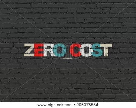 Finance concept: Painted multicolor text Zero cost on Black Brick wall background