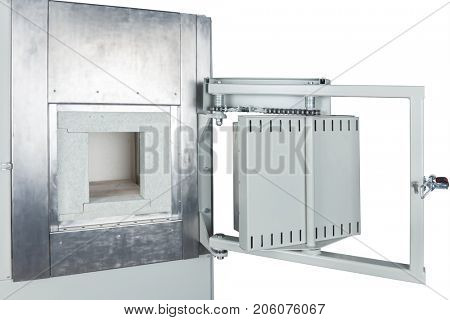 vacuum oven door on a white background