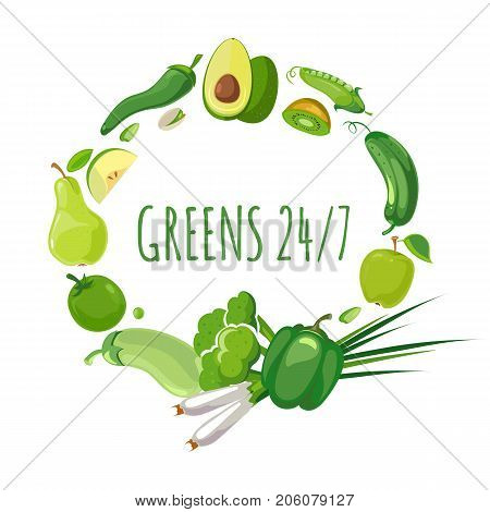 Round shape with green vegetables and fruits. Round badge food. Vector illustration