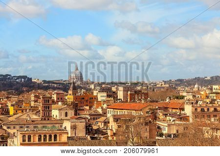 View of Rome and Vaticano from the Aventine hill. Europe Italy.