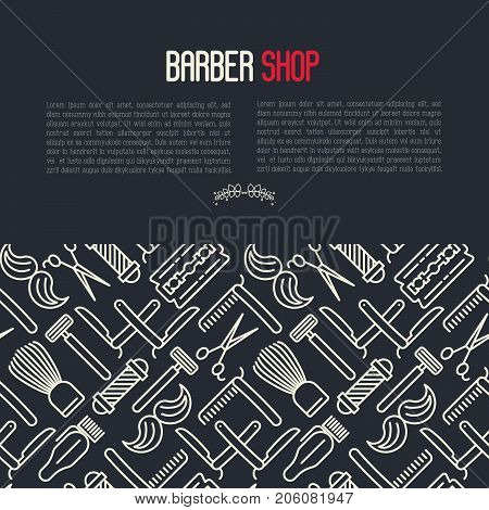 Monochrome barber shop concept with thin line icons of shaving accessories and place for text inside. Vector illustration for web page, banner, print media.