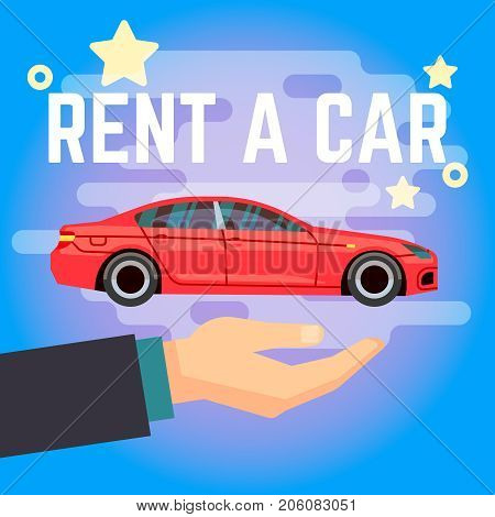 Car rent vector illustration. Hand with flat-style red car on blue background, Rent car template banner