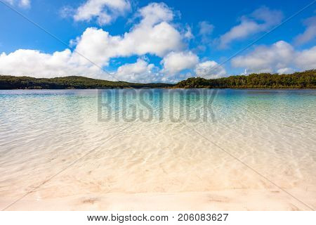 Crystal clear water at Lake Mckenzie, Fraser Island, Sunshine Coast, Queensland, Australia.