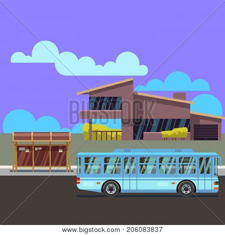 Residential modern house with bus stop and bus. Flat vector illustraion. Building residential home