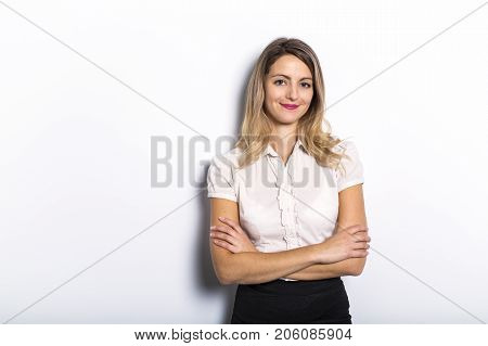 A Successful and nice businesswoman on grey background