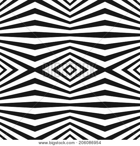 Vector seamless pattern with black & white striped lines. Geometric texture with refracted stripes, rhombuses. Abstract modern background. Trendy illustration in pop art style. Repeat design element.