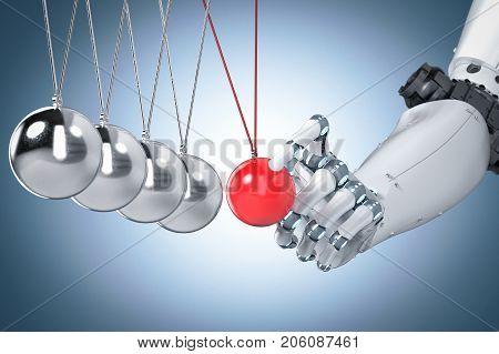 3d rendering robot hand holding newton cradle