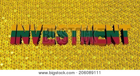 Investment text with Lithuanian flag on coins 3d illustration