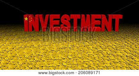 Investment text with Chinese flag on coins 3d illustration