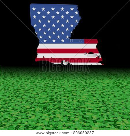 Louisiana map flag with abstract dollar foreground 3d illustration