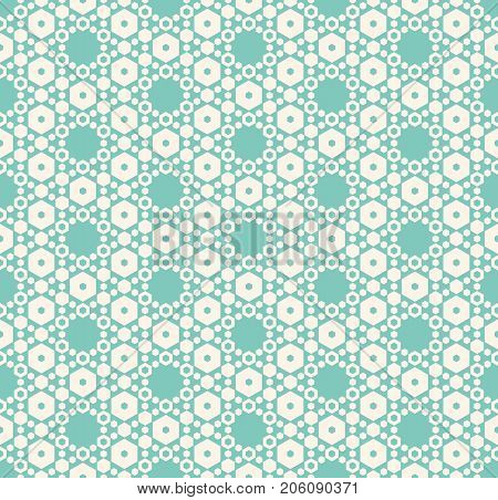 Vector hexagon texture, vintage seamless pattern in soft pastel colors, aqua green and beige. Delicate hexagonal grid. Subtle abstract repeat background. Elegant design for decoration, prints, fabric.