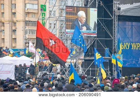 KIEV (KYIV) UKRAINE - DECEMBER 3 2013: Rally for EU association in Kiev