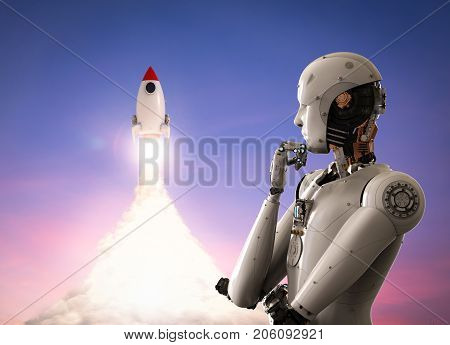 Robot With Space Shuttle
