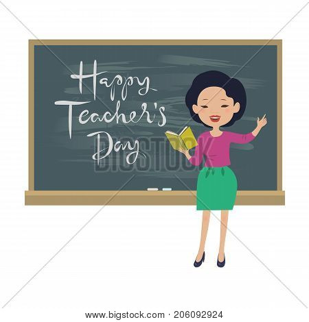 Teachers day greeting card. Asian teacher at the chalkboard isolated vector illustration
