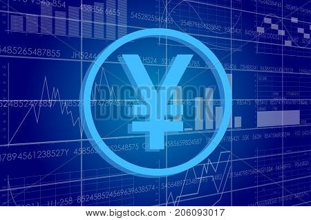 Vector business theme illustration. A yen sign against the background of electronic digits and graphs.