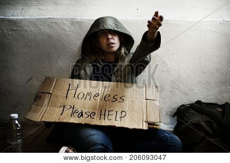 Homeless people asking for a money
