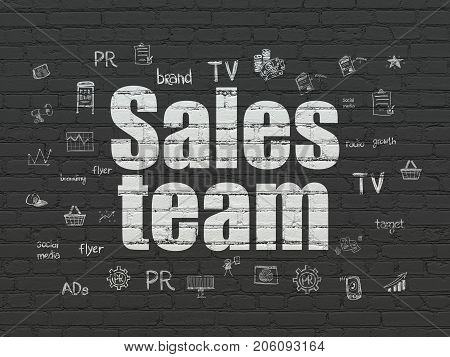 Marketing concept: Painted white text Sales Team on Black Brick wall background with  Hand Drawn Marketing Icons