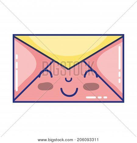 kawaii cute happy e-mail message vector illustration