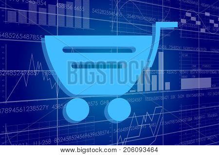 Vector illustration of the global business and digital technologies. Basket on the background of the scoreboard with stock charts.