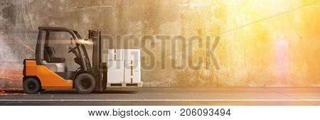 Panorama of forklift drive as fast delivery package concept (3D Rendering)
