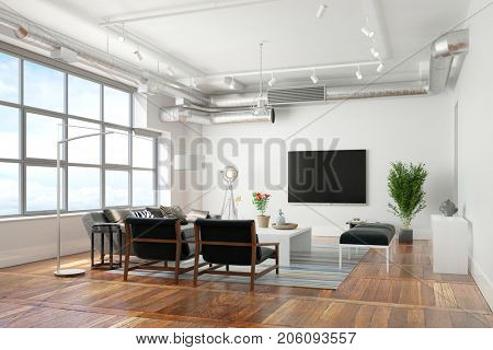 Living room with TV flat screen and sofa (3D Rendering)