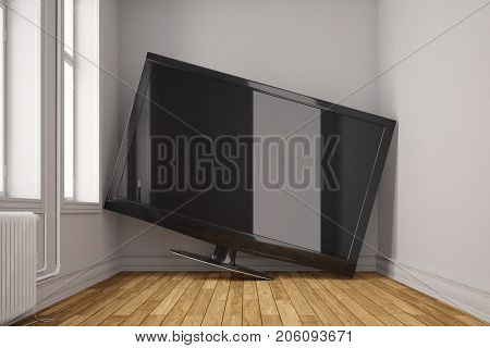 Huge LED TV Flat screen in small room with space problem (3D Rendering)
