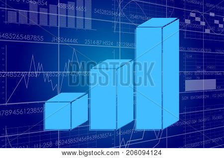 Vector illustration of the global business and digital technologies. Graph on the background of the scoreboard with stock charts.