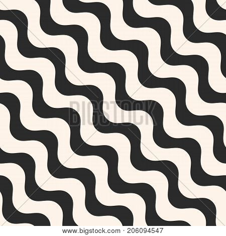 Diagonal wavy lines vector seamless pattern. Simple black & white waves, smooth stripes. Abstract monochrome background, repeat tiles. Modern design element for prints, decor, fabric, furniture, cloth. Wavy pattern. Lines pattern. Stripes pattern.